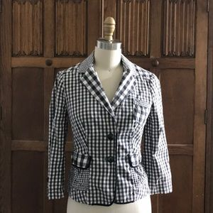 Anthro Taikonhu Black & white multi gingham blazer